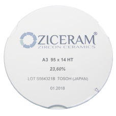 Заготовка для CAD/CAM из диоксида циркония Ziceram HT (суперпрозрачная), высота в ассортименте